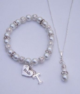 Wedding Jewellery Set - Sparkle & Bling Style Initial Bracelet with Necklace